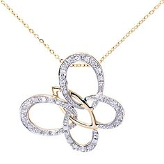 d087b5e6532b4 Naava Women s 9 ct Yellow Gold Diamond Butterfly Pendant + 46 cm Trace  Chain Necklace  Amazon.co.uk  Jewellery