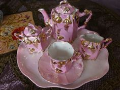 Germany Bright Pink Luster Miniature Tea Set, Pink with Much Gold. Tea Sets Vintage, Antique Dishes, Crumpets, Kettles, My Cup Of Tea, Tea Parties, Ruby Lane, Vintage Beauty, Dollhouses