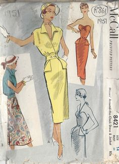 McCall 8421 Misses Sheath Dress & Jacket Pattern Around The Clock Strapless Bombshell Womens Vintage Sewing Pattern Bust 32 Motif Vintage, Vintage Dress Patterns, Clothing Patterns, Vintage Designs, Vintage Dresses, Vintage Outfits, Vintage Clothing, Vintage Vogue, 50s Vintage