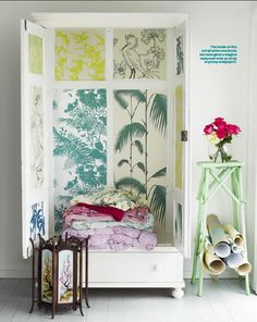 Bright Ideas: DIY Wallpaper Project » easy and affordable way to transform your wardrobes, shelves, cabinets, etc… the sky is the limit. Take any scraps of your favorite wallpaper to line the insides of your dull and tired looking furniture.