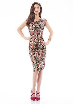 Inter Zeila 9446   GN Design Group INTER ZEILA 9446  Vestido corto, en tejido jersey, con estampado floral