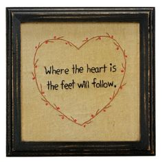 Where The Heart Is Stitched Wall Décor