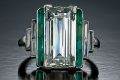 Art Deco diamond and emerald engagement ring from the Neil Lane Archival Collection