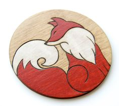 Fox Coaster Gift Woodland Decor Hand Painted Wooden x1 Rustic Natural Wood Foxes