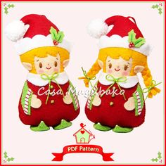 PDF Pattern - Elf Ornament Felt Pattern - Christmas Ornament Hand Sewing Tutorial - Elf Boy & Elf Girl - DIY Project - Instant Download