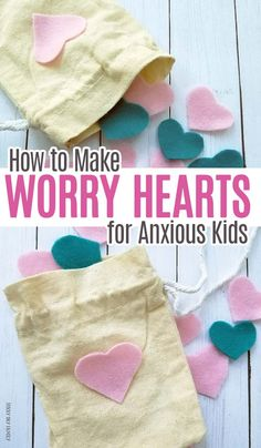 How to Make Worry Hearts for Anxious Kids Help anxious kids by making them a bag of worry hearts to take wherever they go! A sweet twist on worry stones for kids – these are perfect for the first day of school or any day. Counseling Activities, Activities For Kids, Physical Activities, Play Therapy Activities, Kindness Activities, Career Counseling, Child Life Specialist, School Social Work, Tips