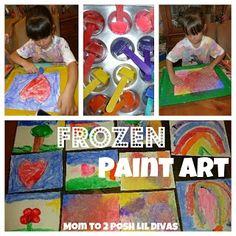 frozen paint art - a wonderful winter art activity for kids