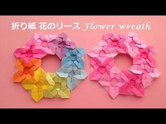 折り紙 花のリースの簡単な作り方2(niceno1)Origami Flower wreath tutorial - YouTube