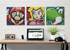 Here's some fine art that speaks to the true Nintendo geek. This cool Super Mario artwork is stretched on 16″ square canvas that will look beautiful hanging on your wall. Choose from Bowser, Luigi, Mario, Princess Peach, or Yoshi.