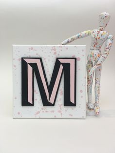 Pink, White and Black Letter Wall Hanging. Made to Order. Seaside Art, Beach Art, Driftwood Frame, Hello Sunshine, Letter Wall, Black Letter, Wall Spaces, Cornwall, Pink White