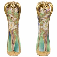 Aggressive Pair Of Vases Art Nouveau Decor Enamelled Flowers Other Antiques Legras