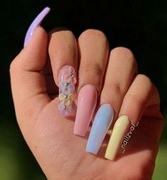 In seek out some nail designs and ideas for your nails? Listed here is our listing of must-try coffin acrylic nails for fashionable women. Cute Acrylic Nail Designs, Best Acrylic Nails, Summer Acrylic Nails, Nail Art Designs, Nails Design, Acrylic Nails Pastel, Summer Nails, Best Nail Art, Long Nail Designs