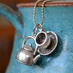 tea cup and pot charm necklace