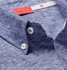 Isaia button-down striped linen and cotton shirt.