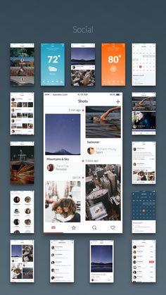 Kama iOS App UI Kit - walk throughs, social, header, navigation, media…