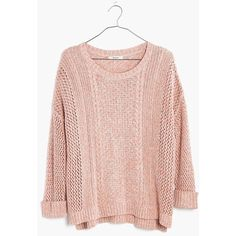 MADEWELL Marled Plaza Pullover Sweater ($40) ❤ liked on Polyvore featuring tops, sweaters, marled coral, pullover tops, pink pullover, open stitch sweater, stitch sweater and sweater pullover