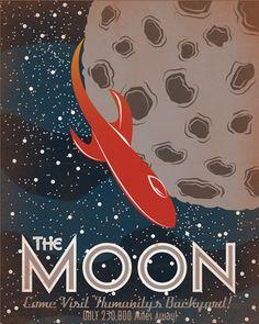 Retro SciFi Moon Travel Poster