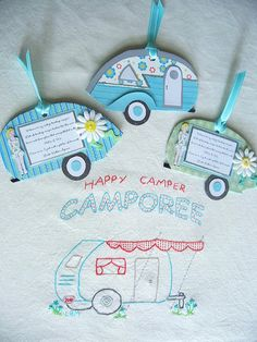 Vintage Camper tags made for a swap - must embroider a pic. for the camper