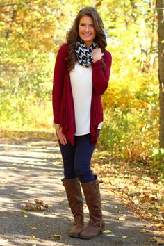Red cardigan, white shirt, skinny jeans, brown boots, chevron scarf
