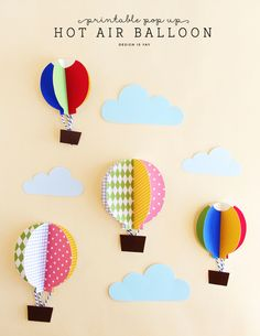 Printable Pop Up Hot Air Balloon | DESIGN IS YAY
