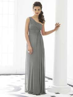 526cd11b50be After Six Bridesmaid Dress 6651 One shoulder empire waist full length lux  chiffon dress w