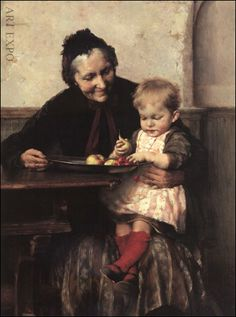 These 35 ideas for interaction between grandparents (biological or not) and grandchildren are intended to trigger even more ideas for fun, teaching opportunities, and social and emotional well-being. Grands Parents, Grandchildren, Granddaughters, Grandkids, National Gallery, Illustration, Greek Art, Art Database, Mother And Child
