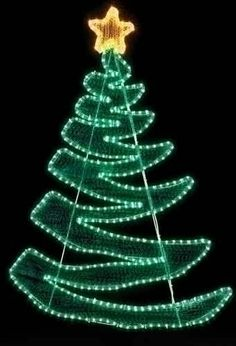 Green zig zag rope light Christmas tree