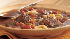 Green Giant® Valley Fresh Steamers™ beans is a simple addition to this slow-cooked beef and pasta soup made with Progresso® broth. A perfect warm and filling dinner!