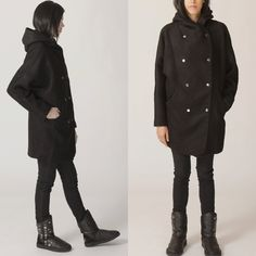 Hoodie coat/ Hoodie jacket /winter coats/ wool coat/outerwear/black jacket/black coat/Hooded women FM061