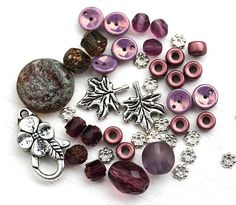 Purple Bead soup, Silver leaf charms, beads mix, czech glass, cathedral beads, flowers, spacers, different shapes - BB11 by MayaHoney on Etsy