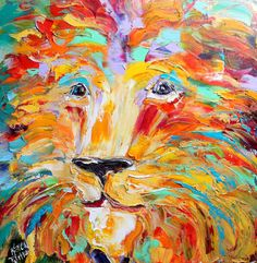 Original #Lion Portrait painting palette knife by Karensfineart