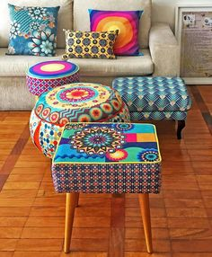 Funky Furniture, Repurposed Furniture, Home Decor Furniture, Painted Furniture, Diy Home Decor, Furniture Design, Diy Ottoman, African Home Decor, Colourful Living Room