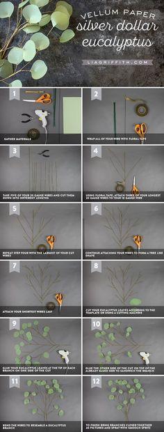 Eucalyptus Branch Tutorial DIY pattern and tutorials at DIY pattern and tutorials at Fake Flowers, Diy Flowers, Fabric Flowers, Paper Leaves, Tissue Paper Flowers, Tree Branches, Papier Diy, Tutorials, Paper Crafting