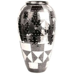 French Art Deco Metal Vase with Black Enamel Christofle Deskey Era | From a unique collection of antique and modern sterling silver at http://www.1stdibs.com/furniture/dining-entertaining/sterling-silver/