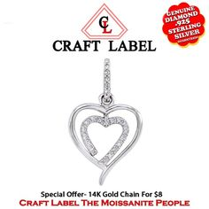 """1/12 Ct White Genuine Diamond 14K Gold Double Heart Promise Pendant Without Chain """"Mother\'s Day Gift"""". Starting at $44"""