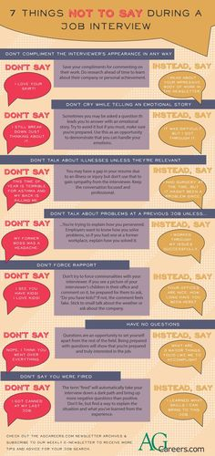 Here are some things to avoid saying at an interview, and things you can say instead!