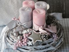 ** Advent wreath ★ STAR DREAM ★ ** The white vine wreath was decorated with pink and gray candles, which are wrapped with matching ribbons. Gray and silver balls, … Rose Gold Christmas Decorations, Christmas Advent Wreath, Christmas Arrangements, Christmas Centerpieces, Christmas Crafts, Xmas, Christmas Inspiration, Creations, Vine Wreath