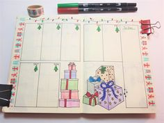 Christmas Bullet Journal page layouts for December. Calendar, weekly spreads, habit and mood trackers, present tracking, and more.