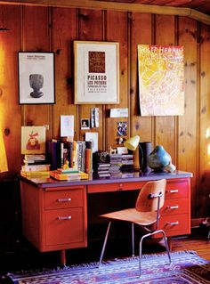 Cool way to jazz up that paneling on the stairs... I could do something similar and get rid of the crap wallpaper.