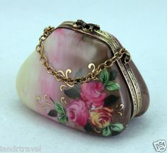 New French Limoges Box Gorgeous Light Dark Brown Purse Hand Bag w Pink Roses