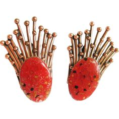 Matisse  / Renoir earrings - enameled with coral orange - arts and crafts jewelry