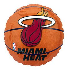 "NEW ! BALLOONS 18"" BASKETBALL party MIAMI HEAT favors BIR…"