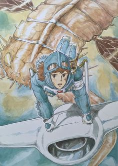 Illustrations done for the Nausicaa manga ===== Manga began running in monthly 'Animage' in Feb. 1982, collected in order of appearance ===== Notes: I drew this for the cover of 'Animage'. Pictures with light coloring like this often end up looking very different once it comes time to print them. This one turned out particularly badly.