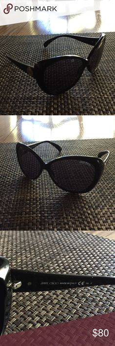 Jimmy Choo Julie Sunglasses Great Jimmy Choo Sunglasses, were on display at the boutique, no tags, no case, black polycarbonate frame with crocodile leather imitation pattern, purple- gray antireflective lenses Jimmy Choo Accessories Sunglasses