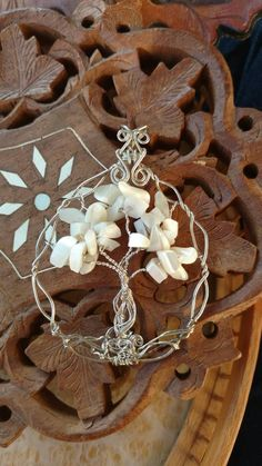 Mother of Pearl tree of life. Wire wrapped jewelry handmade. Wire pendant…