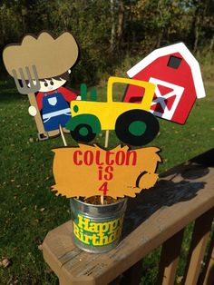 Tractor Farm Barnyard Table Decoration John Deere Inspired Birthday Party Tractor Birthday Banner on Etsy, $25.00
