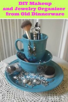 DIY makeup and jewelry organizer from old dinnerware