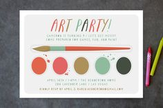 Create an art themed birthday party with this Paint Kit Kids Party Invitations by Shari Margolin at minted.com