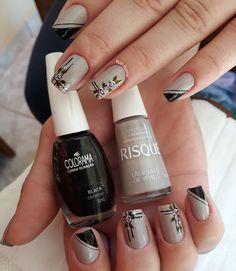 19 Fotos de Unhas Decoradas com Rosas Nail Art Techniques, Classy Nails, Pedicure, Nail Designs, Hair Beauty, Nail Polish, Makeup, Nail Ideas, Humor