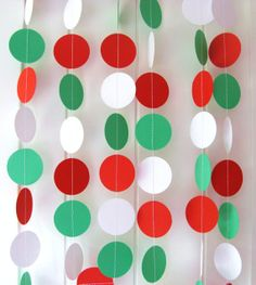 Christmas Paper Garland DIY Kit Red Green and white Circles by ThePaperDivaa, $5.00
